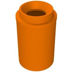 "55 Gallon Orange Trash Receptacle, Funnel Top 11.5"" Opening"