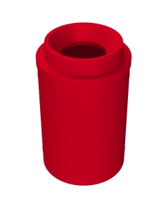 """55 Gallon Red Trash Receptacle, Funnel Top 11.5"""" Opening Lid"""