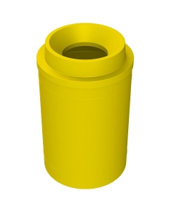 """55 Gallon Yellow Trash Receptacle, Funnel Top 11.5"""" Opening"""