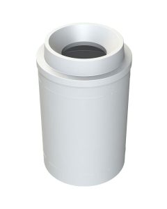 """55 Gallon White Trash Receptacle, Funnel Top 11.5"""" Opening"""