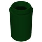 "55 Gallon Green Granite Trash Receptacle, Funnel Top 11.5"" Opening"