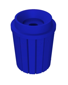 """42 Gallon Blue Slatted Recycling Receptacle, Funnel Top 5"""" Opening"""