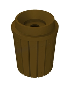 """42 Gallon Brown Slatted Recycling Receptacle, Funnel Top 5"""" Opening"""
