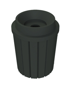 """42 Gallon Black Slatted Recycling Receptacle, Funnel Top 5"""" Opening"""
