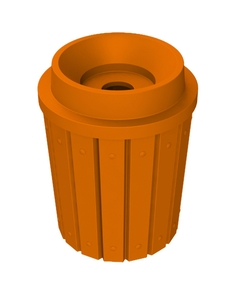 """42 Gallon Orange Slatted Recycling Receptacle, Funnel Top 5"""" Opening"""