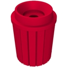 """42 Gallon Red Slatted Recycling Receptacle, Funnel Top 5"""" Opening"""