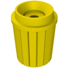 """42 Gallon Yellow Slatted Recycling Receptacle, Funnel Top 5"""" Opening"""