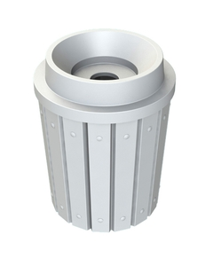 """42 Gallon White Slatted Recycling Receptacle, Funnel Top 5"""" Opening"""