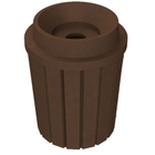 """42 Gallon Brown Granite Slatted Recycling Receptacle, Funnel Top 5"""" Opening"""