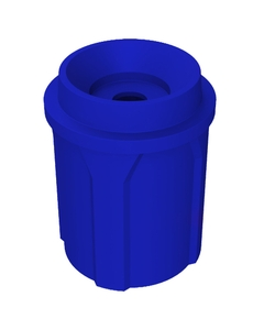 """42 Gallon Blue Recycling Receptacle, Funnel Top 5"""" Opening"""