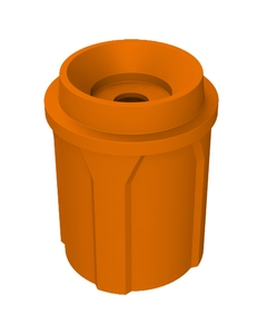 """42 Gallon Orange Recycling Receptacle, Funnel Top 5"""" Opening"""
