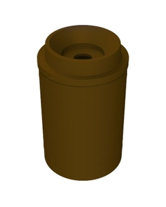"""55 Gallon Brown Recycling Receptacle, Funnel Top 5"""" Opening"""
