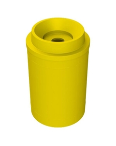"""55 Gallon Yellow Recycling Receptacle, Funnel Top 5"""" Opening"""