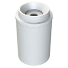 """55 Gallon White Recycling Receptacle, Funnel Top 5"""" Opening"""
