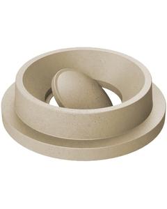 55 Gallon Drum Beige Granite Plastic Funnel Top Bug Barrier Trash Receptacle Lid