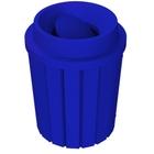 42 Gallon Blue Slatted Trash Receptacle, Funnel Top Bug Barrier Lid