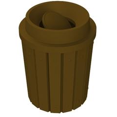 42 Gallon Brown Slatted Trash Receptacle, Funnel Top Bug Barrier Lid
