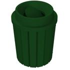 42 Gallon Green Slatted Trash Receptacle, Funnel Top Bug Barrier Lid