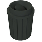 42 Gallon Black Slatted Trash Receptacle, Funnel Top Bug Barrier Lid