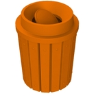 42 Gallon Orange Slatted Trash Receptacle, Funnel Top Bug Barrier Lid