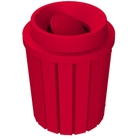 42 Gallon Red Slatted Trash Receptacle, Funnel Top Bug Barrier Lid
