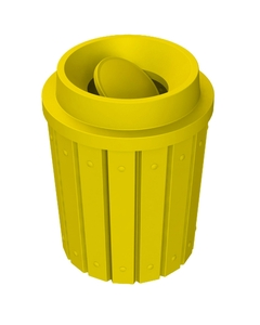 42 Gallon Yellow Slatted Trash Receptacle, Funnel Top Bug Barrier Lid