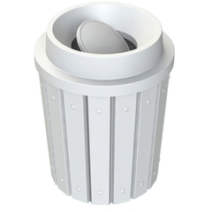 42 Gallon White Slatted Trash Receptacle, Funnel Top Bug Barrier Lid