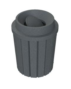 42 Gallon Dark Granite Slatted Trash Receptacle, Funnel Top Bug Barrier Lid