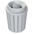 42 Gallon Light Granite Slatted Trash Receptacle, Funnel Top Bug Barrier Lid