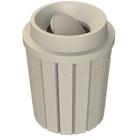 42 Gallon Beige Granite Slatted Trash Receptacle, Funnel Top Bug Barrier Lid