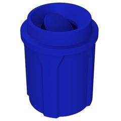 42 Gallon Blue Trash Receptacle, Funnel Top Bug Barrier Lid