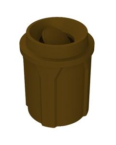 42 Gallon Brown Trash Receptacle, Funnel Top Bug Barrier Lid