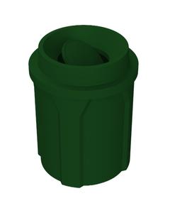 42 Gallon Green Trash Receptacle, Funnel Top Bug Barrier Lid