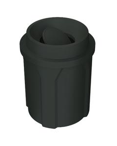 42 Gallon Black Trash Receptacle, Funnel Top Bug Barrier Lid