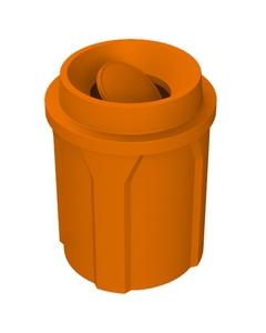 42 Gallon Orange Trash Receptacle, Funnel Top Bug Barrier Lid