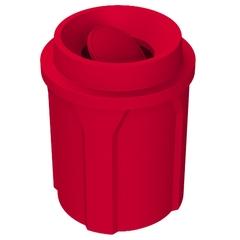 42 Gallon Red Trash Receptacle, Funnel Top Bug Barrier Lid