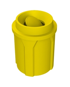 42 Gallon Yellow Trash Receptacle, Funnel Top Bug Barrier Lid