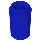 55 Gallon Blue Trash Receptacle, Funnel Top Bug Barrier Lid