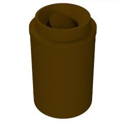 55 Gallon Brown Trash Receptacle, Funnel Top Bug Barrier Lid