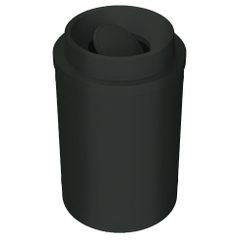 55 Gallon Black Trash Receptacle, Funnel Top Bug Barrier Lid
