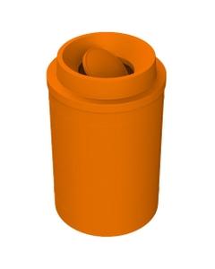 55 Gallon Orange Trash Receptacle, Funnel Top Bug Barrier Lid