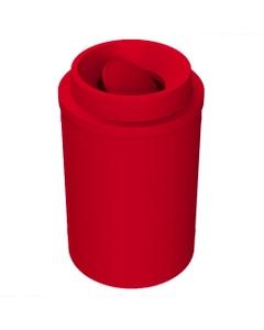 55 Gallon Red Trash Receptacle, Funnel Top Bug Barrier Lid