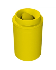 55 Gallon Yellow Trash Receptacle, Funnel Top Bug Barrier Lid