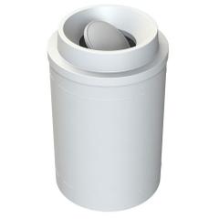 55 Gallon White Trash Receptacle, Funnel Top Bug Barrier Lid