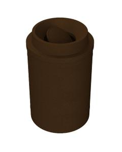 55 Gallon Brown Granite Trash Receptacle, Funnel Top Bug Barrier Lid