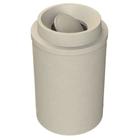55 Gallon Beige Granite Trash Receptacle, Funnel Top Bug Barrier Lid