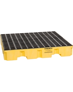 4-Drum Yellow Spill Containment Pallet, w/Drain