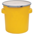 20 Gallon Yellow Plastic Salvage Drum, Cover w/ Lever Lock Ring, UN Rated
