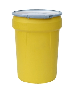 30 Gallon Yellow Plastic Salvage Drum, Cover w/ Lever Lock Ring, UN Rated