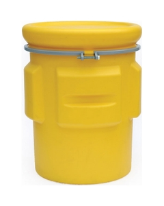 65 Gallon Yellow Plastic Salvage Drum, Cover w/ Bolt Ring, UN Rated